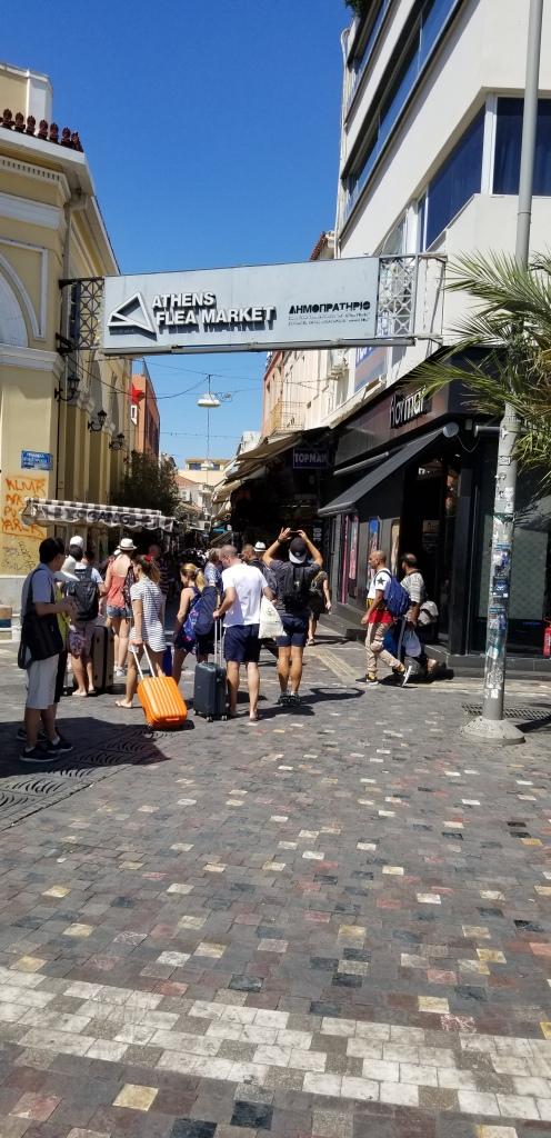 A photo of the flea market in Monastiraki Square in Athens, Greece.