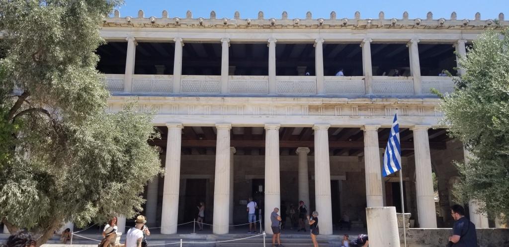 A photo of the restored Athens Agora building.