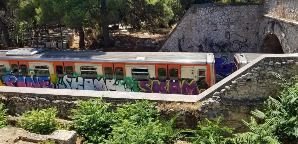 A picture I took of a graffiti filled train car.